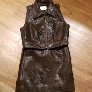 Cache Leather Vest & Skirt